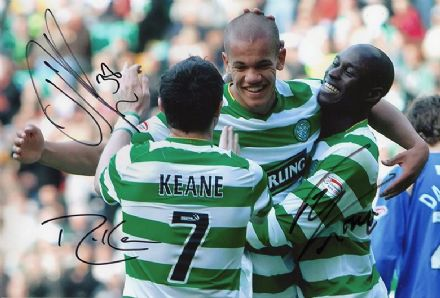Thompson, Keane, Fortune, Glasgow Celtic, signed 12x8 inch photo.